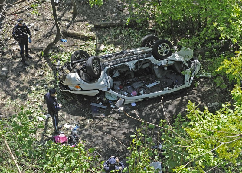 Police examine the wreckage of a van that plunged off the Bronx River Parkway and into a ravine on Bronx Zoo property Sunday in New York. It's the second time in a year that a vehicle has fallen off the same stretch of the parkway.
