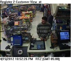 Cumberland Farms robbery suspect from video.