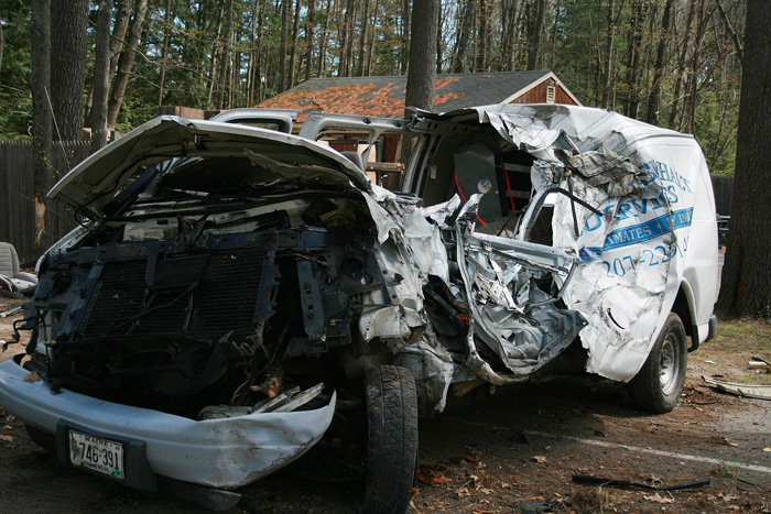 Utility vehicle that was involved in today's fatal crash on Jenkins Road in Saco.