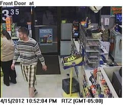 Video image of robbery suspect of the Cumberland Farms on Elm Street in Saco.