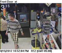 Video image of suspect in the robbery of the Cumberland Farms on Elm Street in Saco.