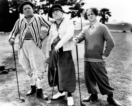 From left, Curly Howard, Moe Howard and Larry Fine.