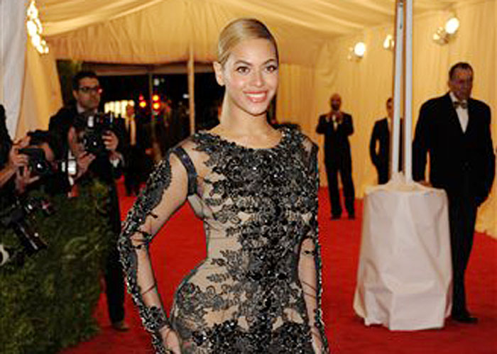 Beyonce arrives at a Metropolitan Museum of Art Costume Institute gala benefit on Monday in New York.