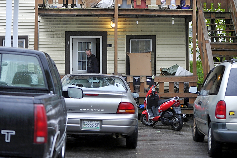 A man who identified himself as the victim's uncle leaves the apartment at 222 Brown St. where a fatal shooting took place Friday morning. Police said the self-inflicted shooting was reported to police about 3:30 a.m.