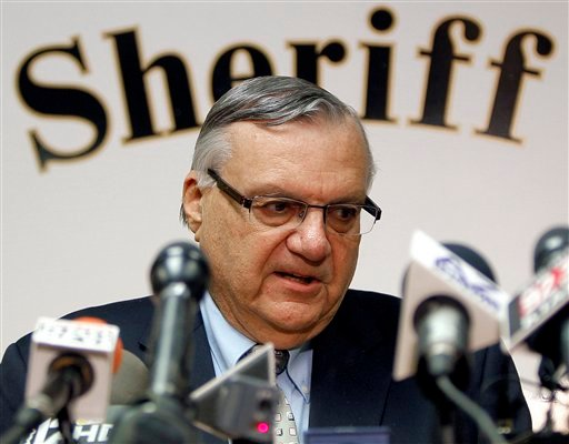 Maricopa County Sheriff Joe Arpaio conducts a news conference in Phoenix in this Jan. 10, 2012, photo.