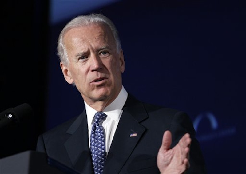 "In this March 21, 2012 file photo, Vice President Joe Biden speaks at Mellon Auditorium in Washington. Biden on Sunday, May 6, 2012 said he's ""absolutely comfortable"" with gay couples who marry getting the same civil rights and liberties as heterosexual couples, a stand that gay rights advocates interpreted as an endorsement of same-sex marriage. (AP Photo/Carolyn Kaster, File)"