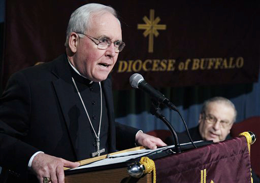 Bishop Richard Malone speaks during the news conference in Buffalo, N.Y., today.
