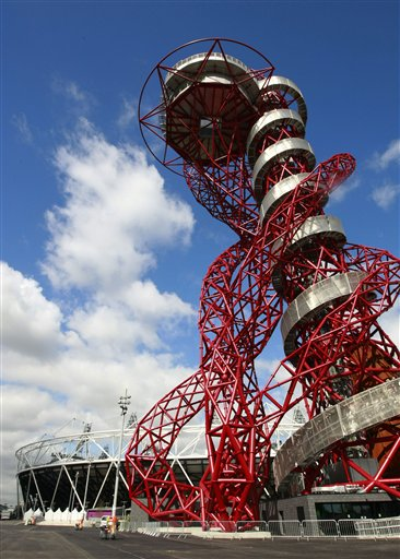 The ArcelorMittal Orbit sculpture is built from 63 percent recycled steel and incorporates the five Olympic rings.