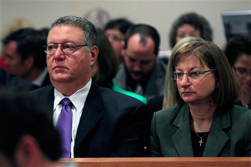 Tyler Clementi's parents, Joseph Clementi and Jane Clementi, look on during a sentencing hearing for Dharun Ravi, in New Brunswick, N.J., Monday, May 21, 2012. Ravi, a former Rutgers University student who used a webcam to watch his roommate, Tyler Clementi, kiss another man days before Clementi killed himself, was sentenced Monday to 30 days in jail. (AP Photo/Mel Evans)