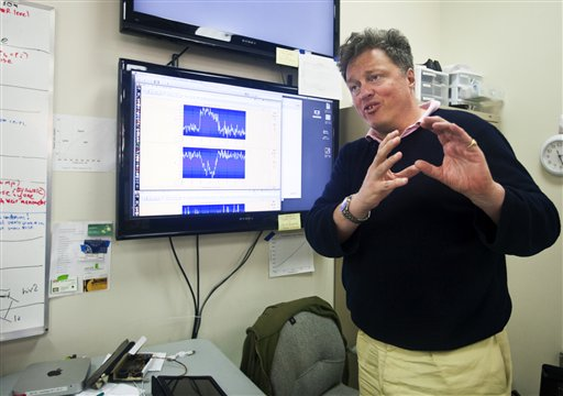 Scientist Rick Gaitskell, a physics professor at Brown University, talks Tuesday about the Sanford Underground Research Facility in Lead, S.D. The lab's experiments will include the world's most sensitive dark-matter detector. Gaitskell says that he's been hunting for dark matter for 23 years, and that the lab housed inside the now-shuttered Homestake Gold Mine nearly 5,000 feet beneath the earth could help scientists understand the origins of the universe.