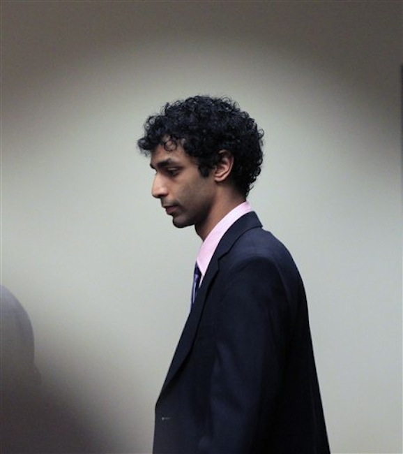 Dharun Ravi arrives at court for his sentencing hearing in New Brunswick, N.J., Monday, May 21, 2012. Ravi, a former Rutgers University student who used a webcam to watch his roommate kiss another man days before the roommate killed himself was sentenced Monday to 30 days in jail. A judge also gave 20-year-old Dharun Ravi three years of probation. (AP Photo/Mel†Evans)