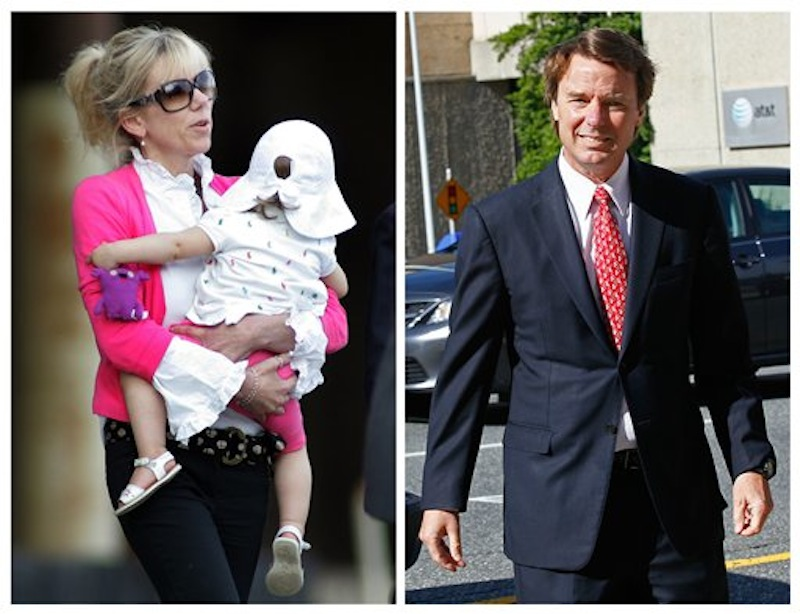 This photo combo shows Rielle Hunter, left, in an Aug. 6, 2009, file photo, and former U.S. senator and presidential candidate John Edwards in a May 10, 2012 file photo. Hunter billed herself a truth seeker. Then she met John Edwards in the bar of a New York City hotel in February 2006. Their relationship opened the door to a landslide of lies, most notably that the relationship existed at all, and that the child it produced was his. Edwards' truthfulness now lies at the heart of his campaign finance trial, with the former Senator insisting he had no idea that money from a pair of wealthy benefactors was being spent to hide Hunter and keep her away from tabloids. (AP Photo/Jim R. Bounds, Gerry Broome)
