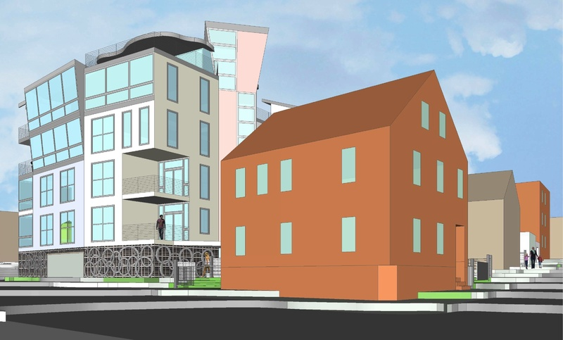 A 26-unit condominium project being developed by S. Donald Sussman and Kevin Bunker of Developers Collaborative would be built along Franklin Street between Federal, Newbury and Hampshire streets.
