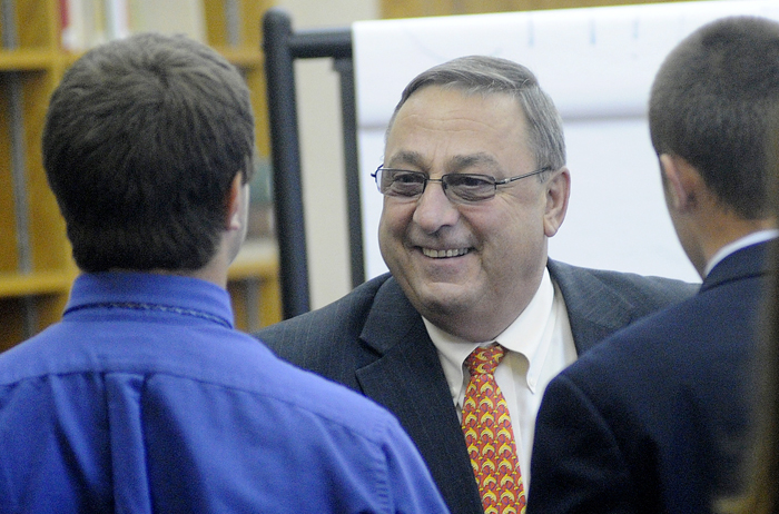 Gov. Paul LePage speaks with Cheverus High School students today. LePage planned to speak again at a public forum tonight from 5:30 to 7 at Cheverus.