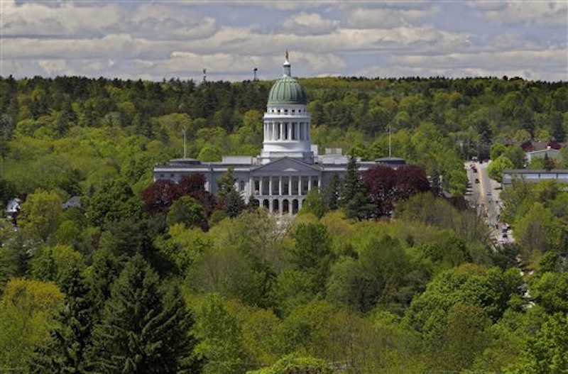 The State House is seen Thursday, May 17, 2012, in Augusta, Maine. State legislators have turned their attention from lawmaking to campaigning with the close of the legislative session. Nearly a third of all seats we become vacant for Novemberís election. (AP Photo/Robert F. Bukaty)