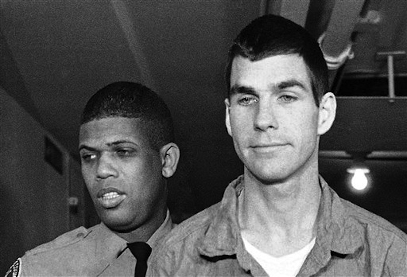 This March 1, 1971 file photo shows Charles Tex Watson, right, arriving for court in Los Angeles, Calif. A Texas judge is expected to decide Tuesday, May 29, 2012, whether eight hours of audio recordings of conversations between a the former Manson family member and his attorney should be given to Los Angeles police. Watson is serving a life sentence for his role in the 1969 Tate-La Bianca murders. (AP Photo/Wally Fong, File)