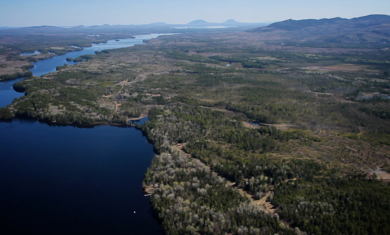 Aerial view of Moosehead region conservation easement.