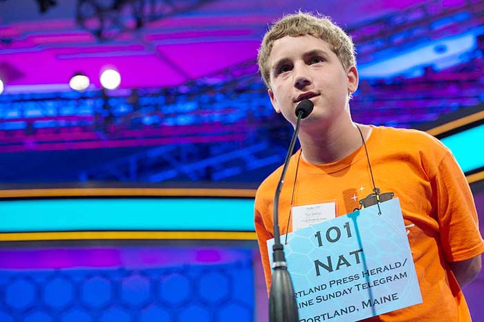 Maine Spelling Bee champion Nat Jordan of Cape Elizabeth competes in the preliminary rounds of the Scripps National Spelling Bee in National Harbor, Md., today.