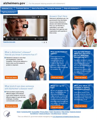 This image from the Health and Human Services new website alzheimers.gov shows the home page. The Obama administration adopts a landmark national strategy to fight Alzheimer's on Tuesday, May 15, 2012, setting the clock ticking toward a deadline of 2025 to finally find effective ways to treat, or at least stall, the mind-destroying disease. But work is beginning right away: Starting Tuesday, embattled families and caregivers can check a new one-stop website for easy-to-understand information about dementia and where to get help. (AP Photo/HHS)