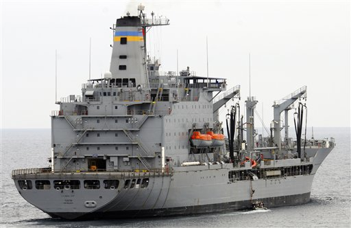 This image provided by the U.S. Navy shows the Military Sealift Command fleet replenishment oiler USNS Yukon.
