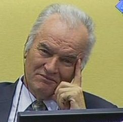 In this video image taken from ICTY video, former Bosnian Serb military commander Gen. Ratko Mladic is seen on the second day of his trial at the Yugoslav war crimes tribunal in The Hague, Netherlands, today.