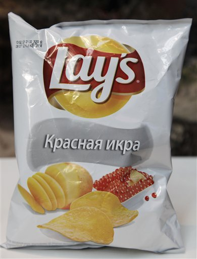 "Sales of Lay's potato chips in Russia have more than doubled in the past five years, thanks to new flavors such as ""Red Caviar,"" above, and ""Pickled Cucumber."""