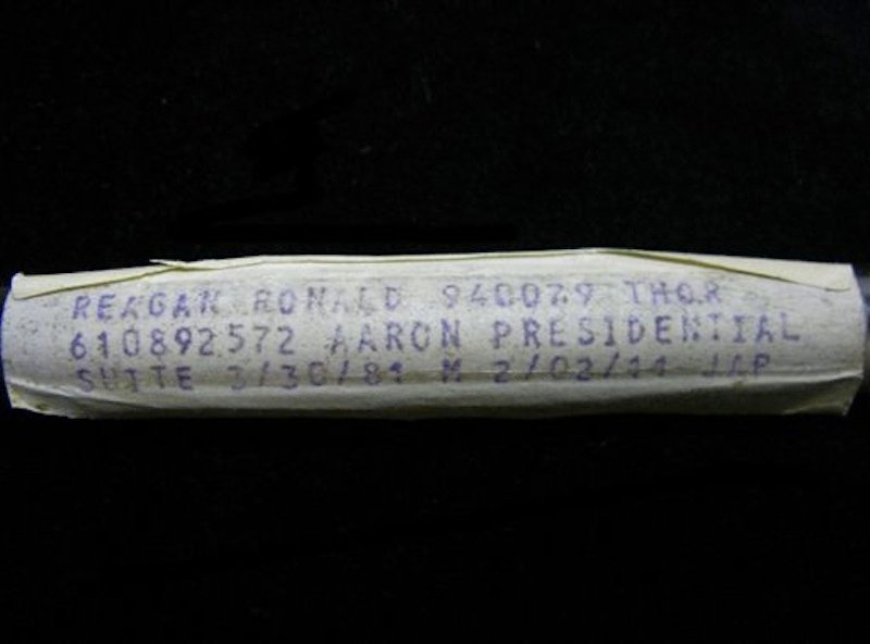 This undated image released by PFCAuctions shows a vial containing Ronald Reagan's dried blood residue. A Channel Islands online auction house has angered Ronald Reagan's foundation by claiming to offer a vial that once contained his blood. The auctioneers say it was used by the laboratory that tested Reagan's blood when he was hospitalized after a 1981 assassination attempt in Washington. Bidding for the vial had passed the 7,000 pound ($11,000) mark Tuesday May 22, 2012. (AP Photo/PFCAuctions)