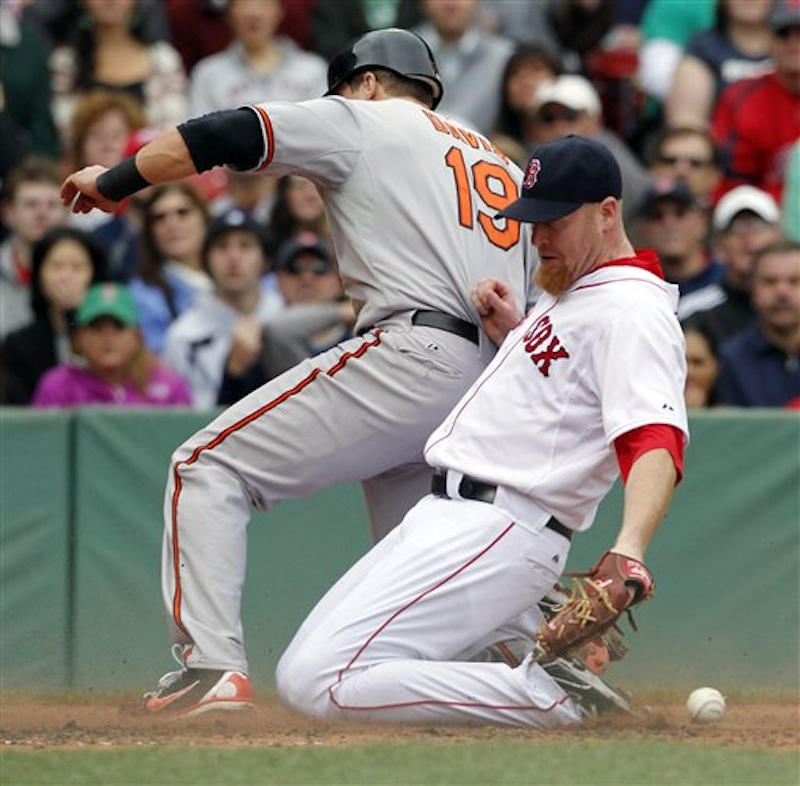 Baltimore Orioles' Chris Davis (19) scores on a passed ball as Boston Red Sox pitcher Aaron Cook fails to make the play in the third inning of a baseball game in Boston, Saturday, May 5, 2012. (AP Photo/Michael Dwyer)
