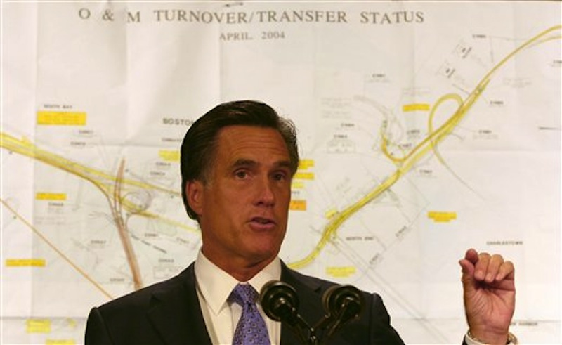 In this July 14, 2006, file photo, Massachusetts Gov. Mitt Romney uses a map of the Big Dig tunnels to make a point about potential trouble spots during an afternoon briefing in Boston. Romney was at his New Hampshire vacation home on a summer night in 2006 when tons of concrete ceiling panels in one of Bostonís Big Dig highway tunnels collapsed. The debris crushed a car and killed a female passenger. Romney, then in his final year as Massachusetts governor, dashed back to Boston and immersed himself in the crisis. His response offers insights into what kind of leader the expected Republican nominee would be if elected president. Romney has made his management skills a major selling point in his campaign. (AP Photo/Celina Fang)