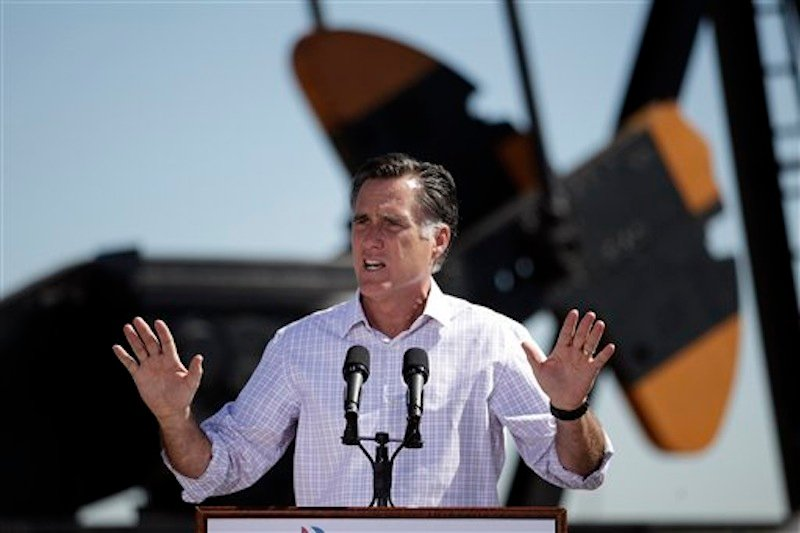 Republican presidential candidate Mitt Romney speaks at a campaign stop held at KP Kauffman Co., an oil and gas production and drilling company in Fort Lupton, Colo., Wednesday, May 9, 2012. (AP Photo/Jae C. Hong)