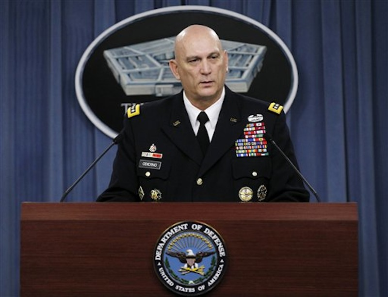 In this Jan. 27, 2012 file photo, Army Chief of Staff Gen. Raymond Odierno speaks at the Pentagon. Uncle Sam may still want you. But you? Maybe not so much. In sharp contrast to the peak years of the Iraq and Afghanistan wars, the Army last year took in no recruits with misconduct convictions or drug and alcohol issues, according to internal documents. And soldiers already serving on active duty must meet tougher standards to stay on for another tour in uniform. (AP Photo/Pablo Martinez Monsivais, File)