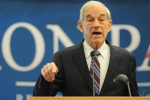 Republican presidential candidate Rep. Ron Paul, R-Texas, in a March 6, 2012, photo in Nampa, Idaho.