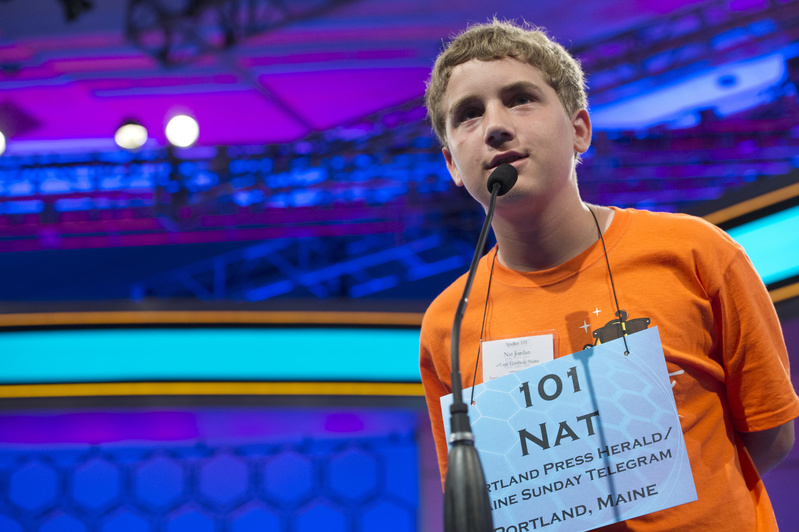 Speller 101 Nat Jordan of Cape Elizabeth competes in the preliminary rounds of the Scripps National Spelling Bee at the Gaylord National Resort and Convention Center in National Harbor, Md., on Wednesday.