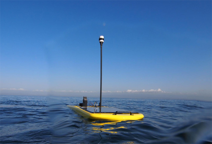This Wave Glider robot is similar to one that is being launched off the Maine coast today.