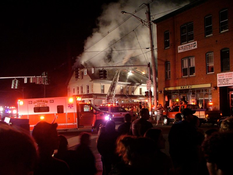 The scene at an April 19th fire at the Gorham House of Pizza.