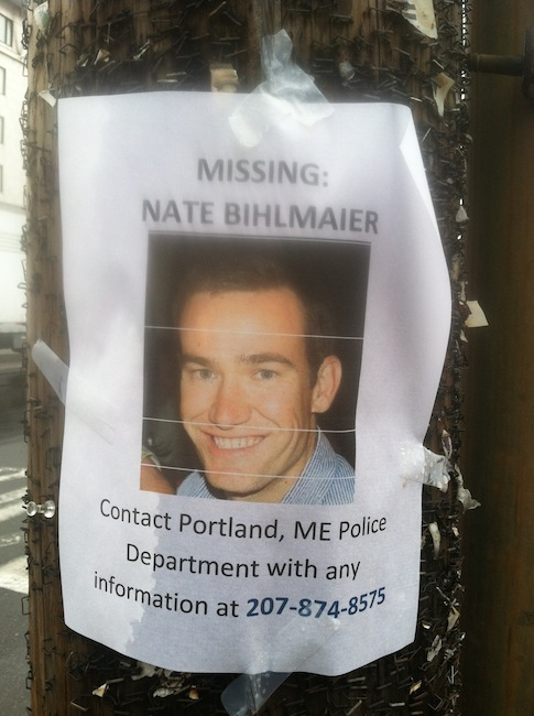 A poster on Commercial Street shows the face of Nathan Bihlmaier, 31, who vanished in Portland early Sunday morning.