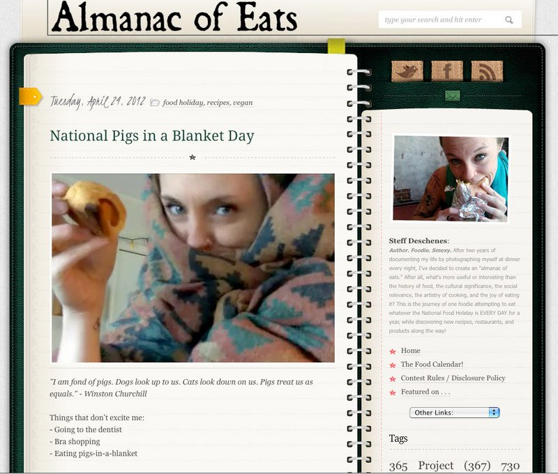 This screen grab shows a page from Steff Deschenes' blog Almanac of Eats. She is in the process of chronicling 365 days of food holidays. Deschenes, pictured below, plans to end her quest on National Champagne Day.