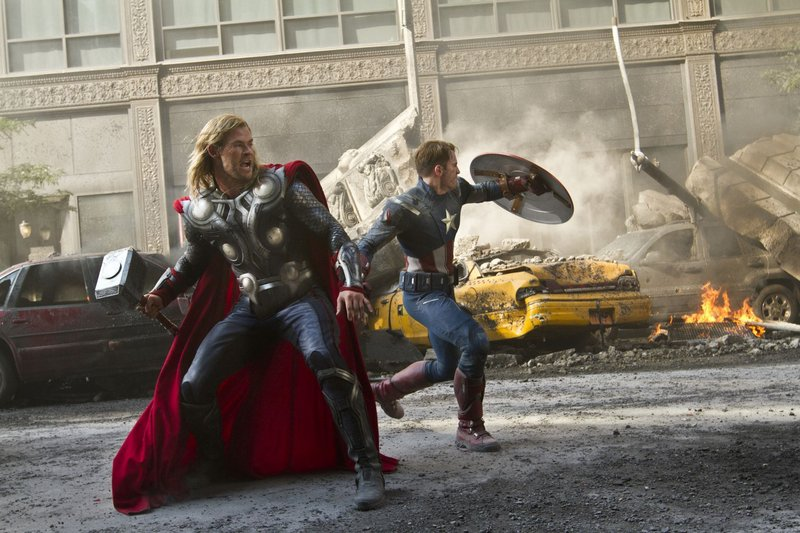 "Thor (Chris Hemsworth) and Captain America (Chris Evans) join forces in ""The Avengers."""