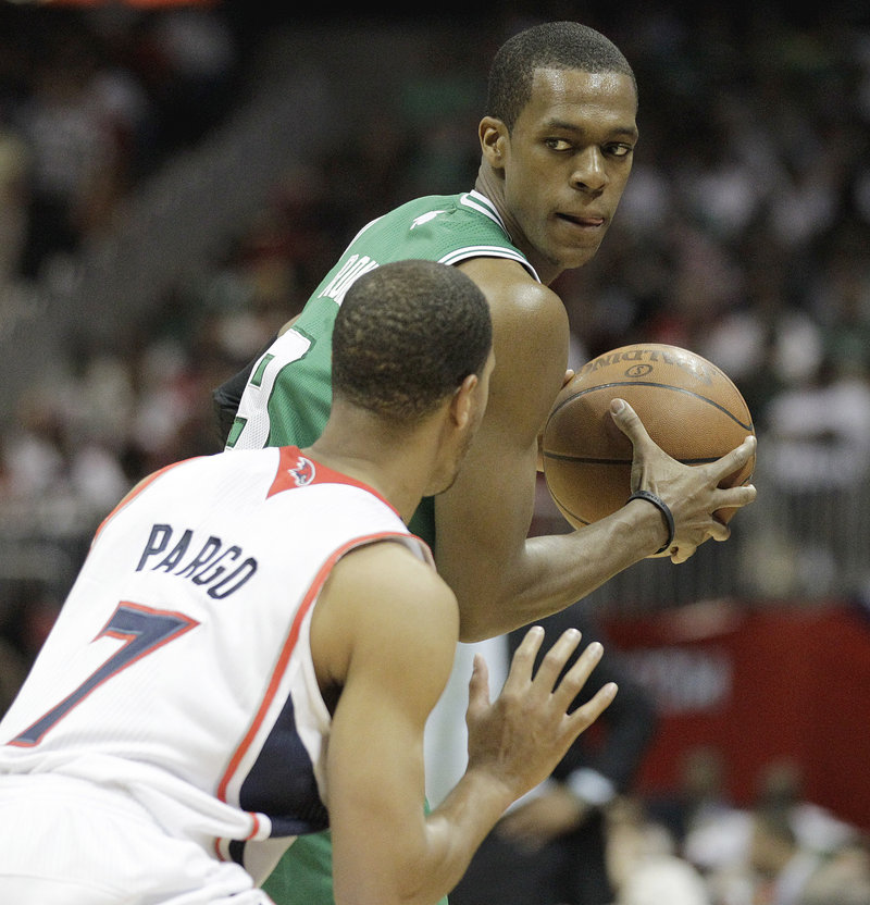 Rajon Rondo played well in Game 1 for the Celtics, until he argued and then bumped referee Marc Davis.