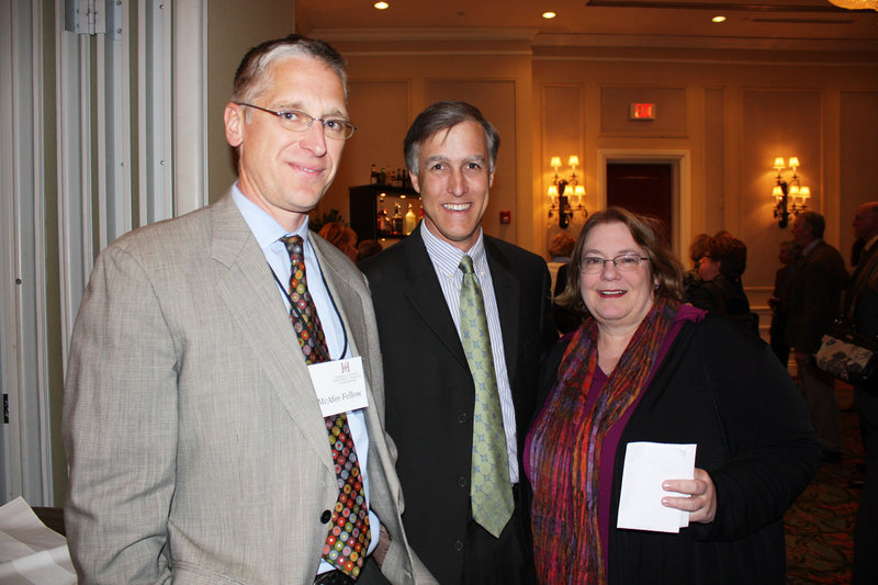 Dr. Mortiz Hansen, a McAfee Fellow, Erik Jorgensen of the Maine Humanities Council and a candidate for the state legislature, and Carolyn Wollen of the Betterment Fund.