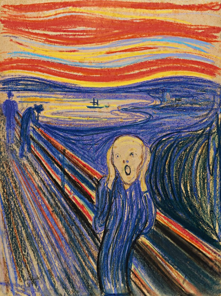 """One of four versions of Edvard Munch's 1895 artwork """"The Scream,"""" a pastel-on-board version with a frame hand-painted by the artist to include a poem, sold for a record $119,922,500 plus buyer's premium."""