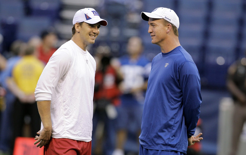 New York Giants quarterback Eli Manning, left, said he would host SNL if he won another title. His brother Peyton Manning, right, hosted the show in 2007.