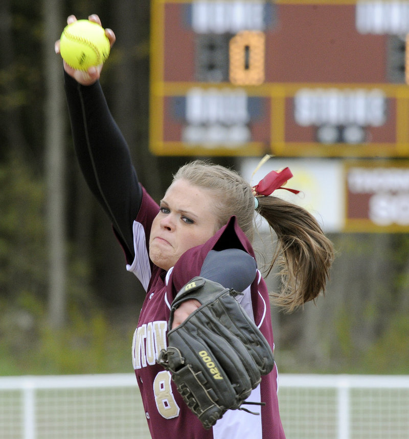 Julia Geaumont of Thornton Academy delivers a pitch Thursday against Scarborough in a clash of unbeaten softball teams. Scarborough prevailed, 6-3.