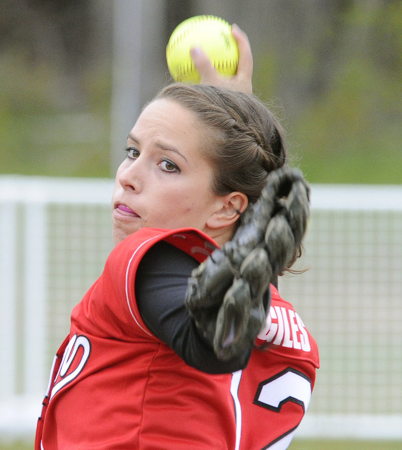 Erin Giles of Scarborough settled down after a slow start Thursday and was the winning pitcher when the Red Storm rallied to beat Thornton Academy, 6-3.