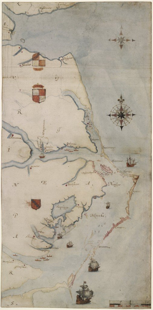 """Image shows the map named """"La Virginea Pars"""" painted by explorer John White in the 1580s depicting the North Carolina coast from Chesapeake Bay to Cape Lookout."""