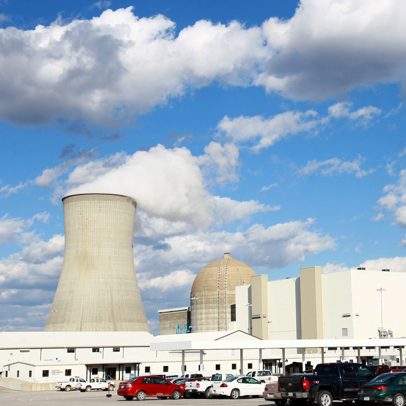 This view of the Ameren Missouri's Callaway County nuclear power plant in Reform, Mo., shows the cooling tower, left, the building that houses spent fuel, center, the dome building that houses the reactor and the building that houses the steam turbine and electric generator, right. A large plant built today can cost many billions of dollars.
