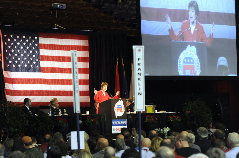 Sen. Susan Collins, R-Maine, speaks Saturday at the Republican State Convention, where she told those present that Republicans have brought real change to Maine, from cutting taxes to cleaning up Maine Turnpike Authority abuses.