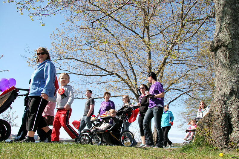 Hundreds of participants walk along Baxter Boulevard in Portland on Sunday for the March of Dimes March for Babies. More than 2,000 Mainers took part in the annual fundraising event to help reduce premature births.