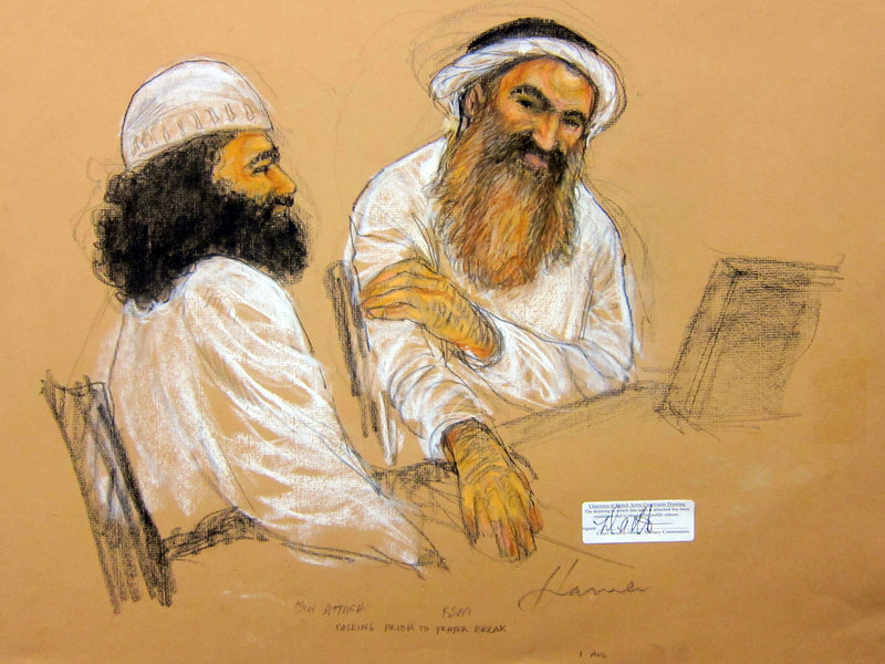 Alleged 9/11 mastermind Khalid Sheikh Mohammed, right, and Walid bin Attash, one of his four co-defendants, attend a military hearing at the Guantanamo Bay Naval Base on Saturday.