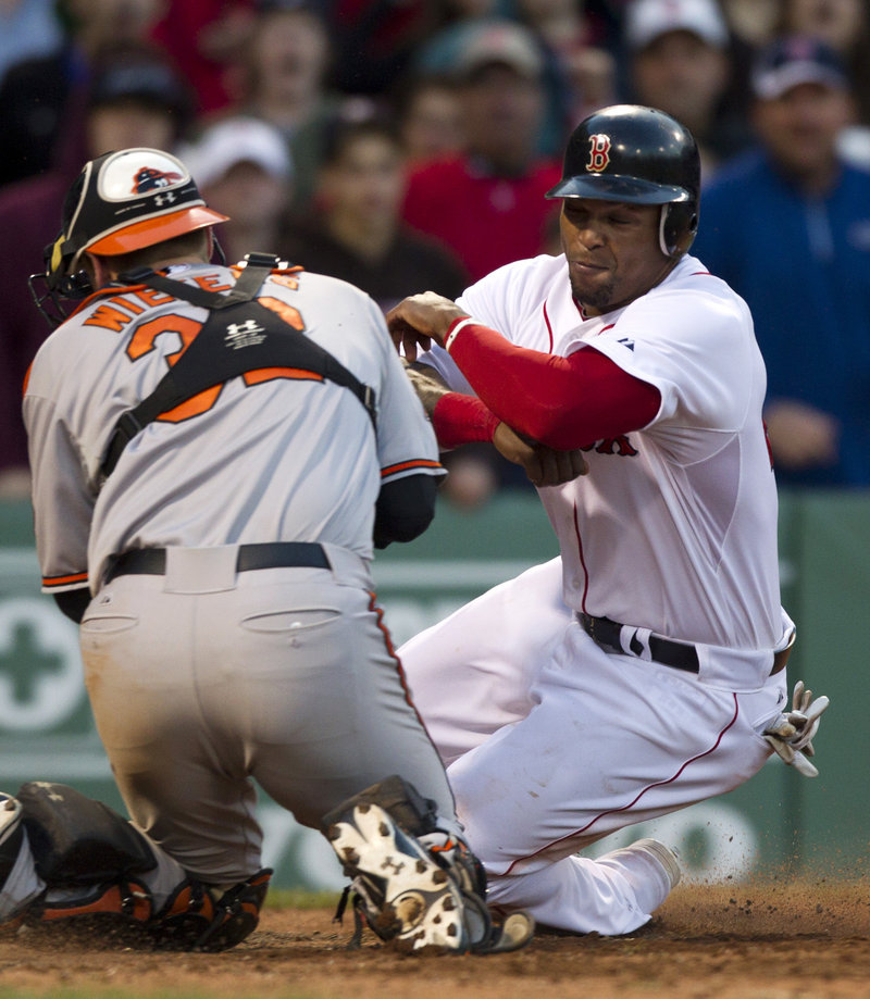 Marlon Byrd was going to be the winning run in the 16th for Boston, until he was tagged out by Matt Wieters while trying to score from first on a double.